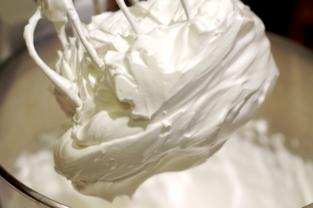 Beat the meringue as it cools down until nice and thick