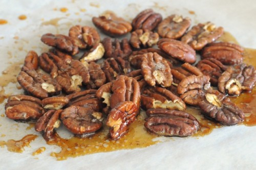 Toast the honeyed pecans