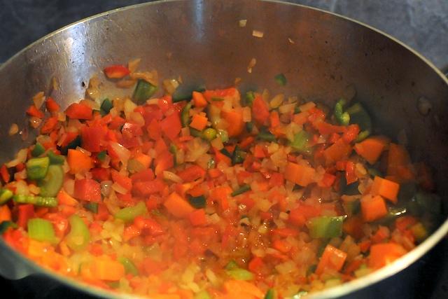 Sauté the vegetables