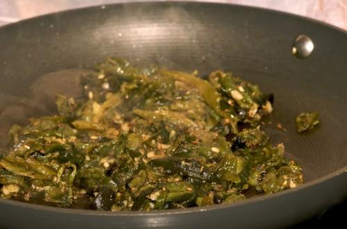 Make the roasted poblano rajas
