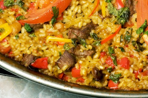 Lamb and Red Pepper Paella