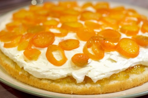 Assemble the cake: cake, marmalade, buttercream, loquats