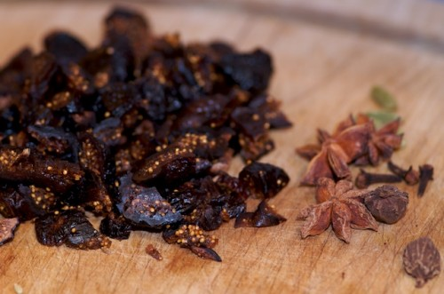 Chopped dried figs and spices