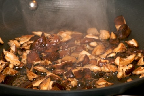 Sauté the mushrooms and deglaze with marsala