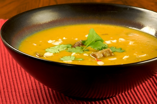 Finally, the soup is ready to serve. Pour yourself a bowl, garnish ...