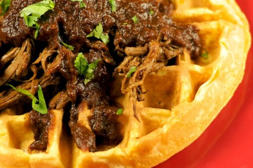 Pulled Beef Brisket over Sweet Potato Waffles with a Chile Tamarind BBQ Sauce