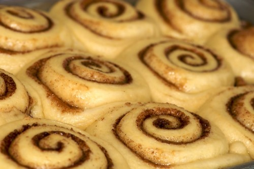 Proof the sticky buns till they're all touching