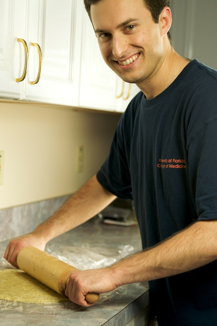Me rolling out the pie crust...since I always smile off into space while rolling dough