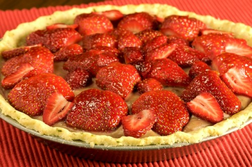 Strawberry Cream Pie in a Thyme Scented Almond Crust