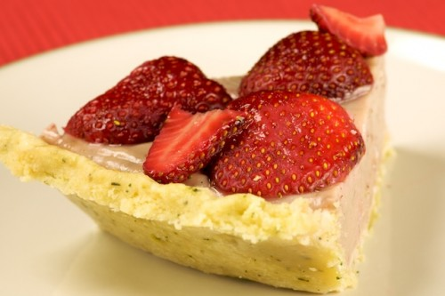 Slice of Strawberry Cream Pie in a Thyme Scented Almond Crust