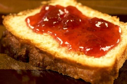 Slice of brioche with jam