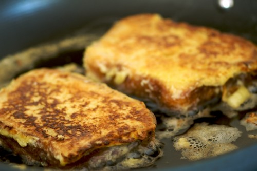 Frying the french toast in butter