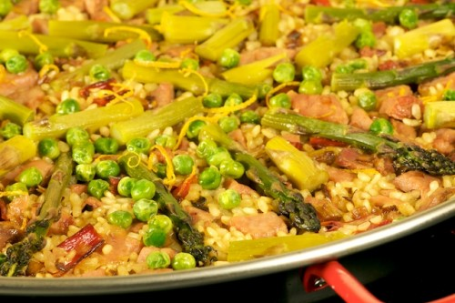 Smoked Ham, Asparagus, Peas, and Swiss Chard Paella