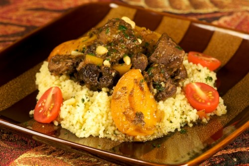 Pomegranate Braised Lamb Shank with Apricots