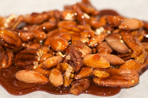 Caramel coated pecans and almonds