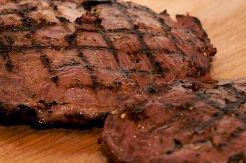 Grill the carne asada (flank steak) and let rest