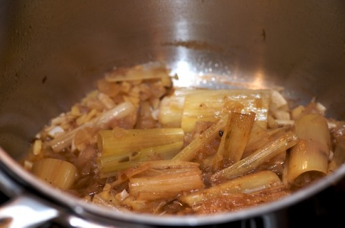 Reduce the wine and extract the lemongrass flavor