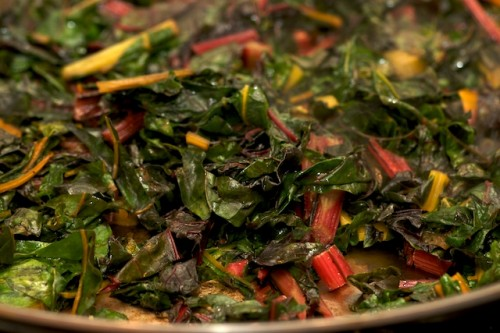 Sauté the rainbow chard