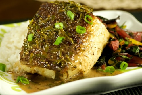 Sea Bass with Lemongrass and Coconut Cream Sauce