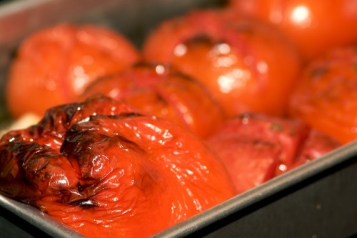 Roasted tomatoes, pepper, and garlic
