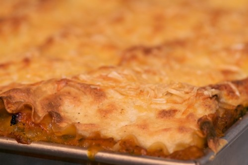 Bake the butternut squash and sausage lasagna