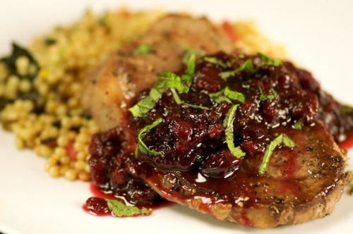 Lamb Steak over Israeli Cous Cous with Cranberry Sherry Mint Sauce