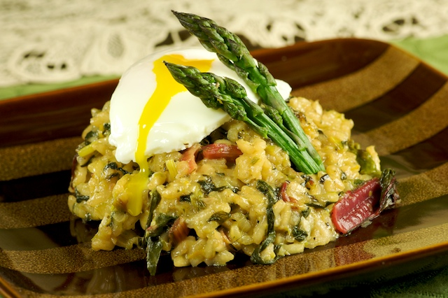 Asparagus Risotto with Poached Eggs from Mike's Table
